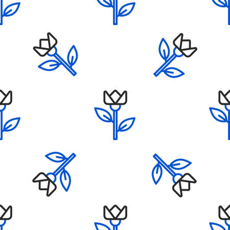 Line Flower tulip icon isolated seamless pattern on white background. Colorful outline concept. Vector