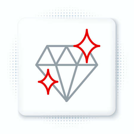 Line Diamond icon isolated on white background. Jewelry symbol. Gem stone. 8 March. International Happy Women Day. Colorful outline concept. Vector