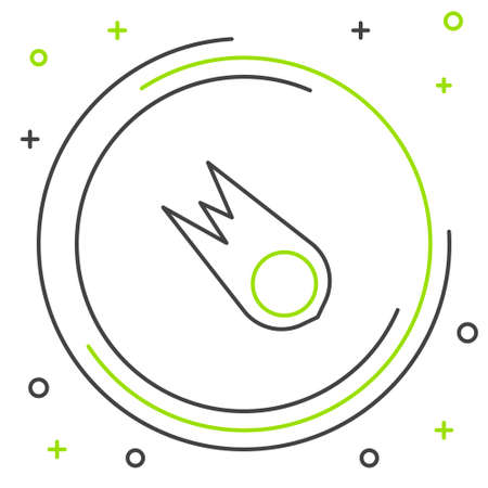 Line Comet falling down fast icon isolated on white background. Colorful outline concept. Vector  イラスト・ベクター素材