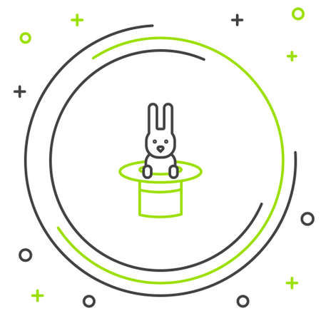 Line Magician hat and rabbit icon isolated on white background. Magic trick. Mystery entertainment concept. Colorful outline concept. Vector