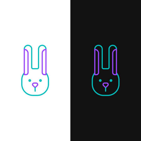 Line Rabbit with ears icon isolated on white and black background. Magic trick. Mystery entertainment concept. Colorful outline concept. Vector