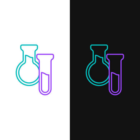 Line Test tube and flask icon isolated on white and black background. Chemical laboratory test. Laboratory glassware. Colorful outline concept. Vector  イラスト・ベクター素材