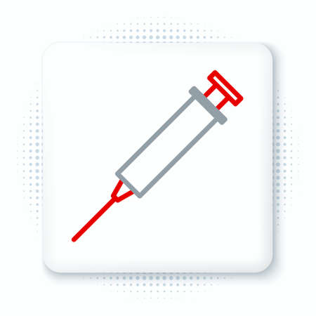 Line Syringe icon isolated on white background. Syringe for vaccine, vaccination, injection, flu shot. Medical equipment. Colorful outline concept. Vector
