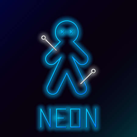 Glowing neon line Voodoo doll icon isolated on black background. Colorful outline concept. Vector  イラスト・ベクター素材