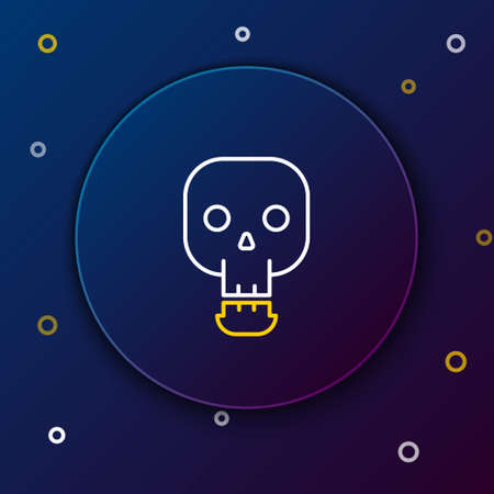Line Skull icon isolated on blue background. Happy Halloween party. Colorful outline concept. Vector