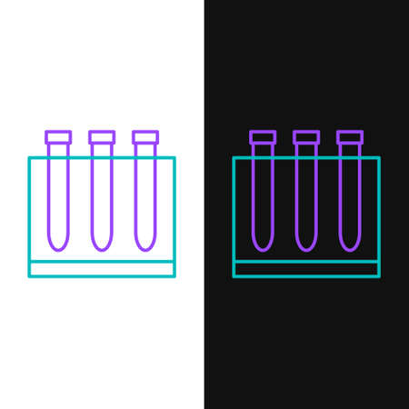 Line Blood test and virus molecule coronavirus icon isolated on white and black background. Coronavirus, COVID-19. 2019-nCoV. Colorful outline concept. Vector