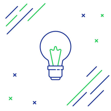 Line Light bulb with concept of idea icon isolated on white background. Energy and idea symbol. Inspiration concept. Colorful outline concept. Vector