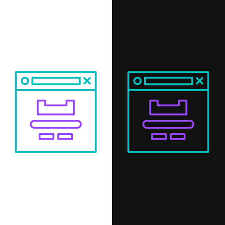 Line Browser window icon isolated on white and black background. Colorful outline concept. Vector