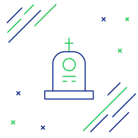 Line Grave with tombstone icon isolated on white background. Colorful outline concept. Vector  イラスト・ベクター素材