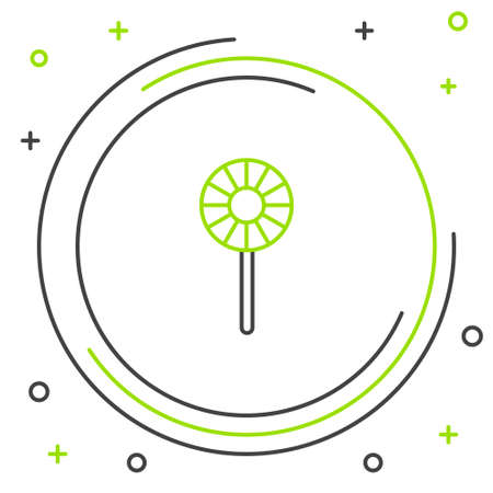 Line Lollipop icon isolated on white background. Candy sign. Food, delicious symbol. Colorful outline concept. Vector