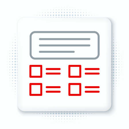 Line Online quiz, test, survey or checklist icon isolated on white background. Exam list. E-education concept. Colorful outline concept. Vector