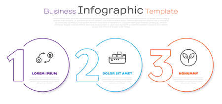 Set line Oil exchange, Oil tanker ship and Bio fuel. Business infographic template. Vector