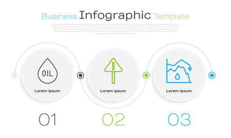 Set line Oil drop, Exclamation mark in triangle and Drop in crude oil price. Business infographic template. Vector