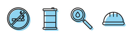 Set line Oil drop, No Smoking, Barrel oil and Worker safety helmet icon. Vector