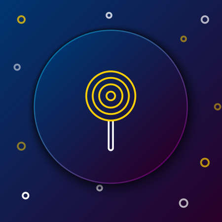 Line Lollipop icon isolated on blue background. Candy sign. Food, delicious symbol. Colorful outline concept. Vector