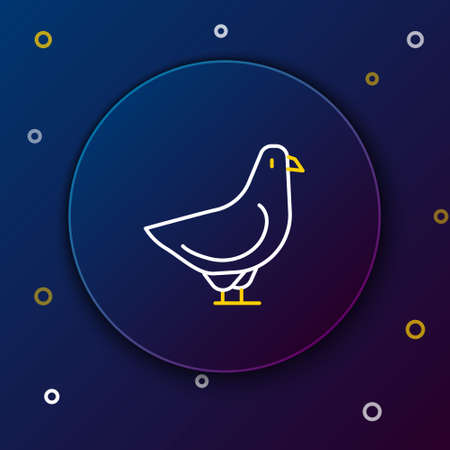 Line Dove icon isolated on blue background. Colorful outline concept. Vector