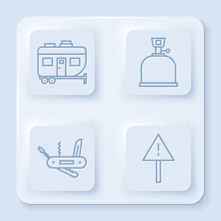 Set line Rv Camping trailer, Camping gas stove, Swiss army knife and Exclamation mark in triangle. White square button. Vector