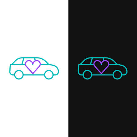 Line Luxury limousine car icon isolated on white and black background. For world premiere celebrities and guests poster. Colorful outline concept. Vector