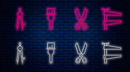 Set line Paint brush, Scissors, Drawing compass and Clamp tool. Glowing neon icon on brick wall. Vector