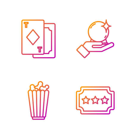 Set line Ticket, Popcorn in box, Playing cards and Magic ball on hand. Gradient color icons. Vector