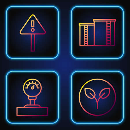 Set line Bio fuel, Gauge scale, Exclamation mark in triangle and Oil industrial factory building. Gradient color icons. Vector Stock Illustratie