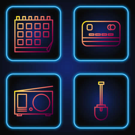 Set line Shovel, Radio with antenna, Calendar and Credit card. Gradient color icons. Vector