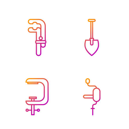 Set line Hand drill, Clamp and screw tool, Clamp tool and Shovel. Gradient color icons. Vector