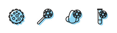 Set line Runny nose and virus, Virus, under magnifying glass and Test tube with icon. Vector