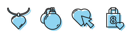 Set line Heart and cursor click, Necklace with heart shaped pendant, Perfume and Shopping bag with heart icon. Vector Ilustração