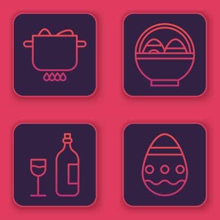 Set line Egg in hot pot, Wine bottle with glass, Basket with easter eggs and Easter egg. Blue square button. Vector