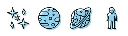 Set line Space capsule and parachute, Planet, Satellite dish and Alien icon. Vector Illusztráció