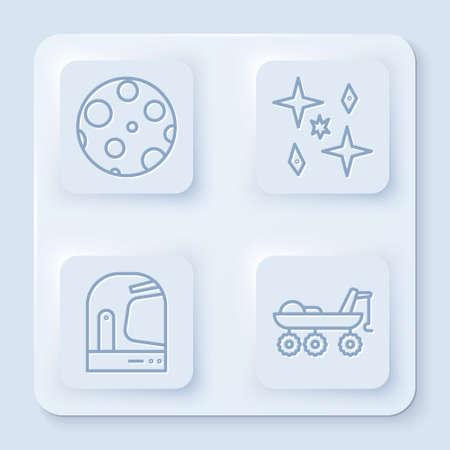Set line Moon, Planet, Astronaut helmet. White square button. Vector  イラスト・ベクター素材