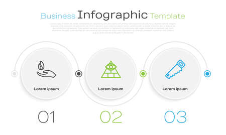 Set line Hand holding a fire, Masons and saw. Business infographic template. Vector