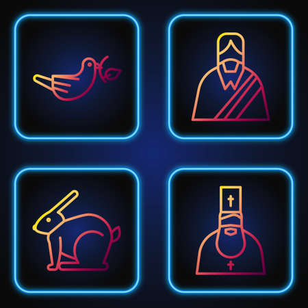 Set line Priest, Easter rabbit, Peace dove with olive branch and Jesus Christ. Gradient color icons. Vector