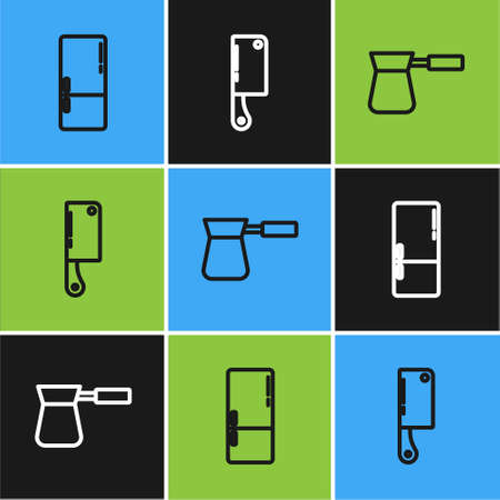 Set line Refrigerator, Coffee turk and Meat chopper icon. Vector