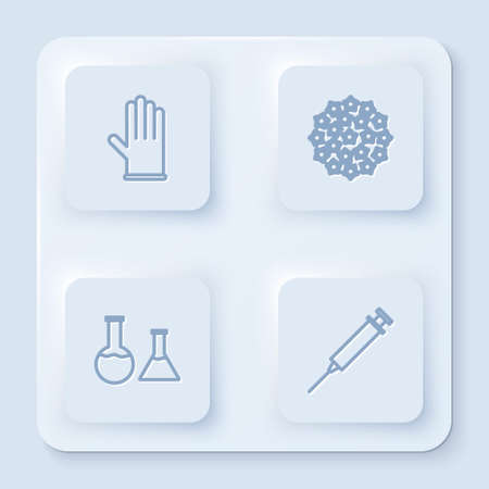 Set line Medical rubber gloves, Virus, Test tube and flask and Syringe. White square button. Vector