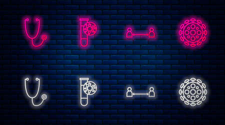 Set line Test tube with virus, Safe distance, Stethoscope and Virus. Glowing neon icon on brick wall. Vector