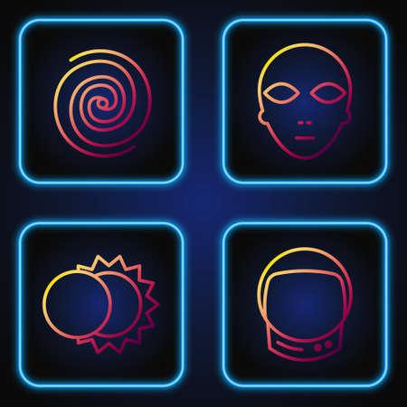 Set line Astronaut helmet, Eclipse of the sun, Black hole and Alien. Gradient color icons. Vector Illusztráció