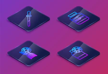 Set Isometric line Pipette, DNA symbol and virus, Medicine bottle pills and Bottle with. Blue square button. Vector  イラスト・ベクター素材