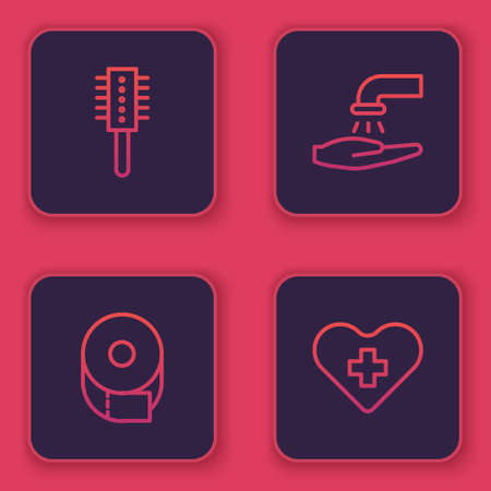 Set line Hairbrush, Toilet paper roll, Washing hands with soap and Heart cross. Blue square button. Vector