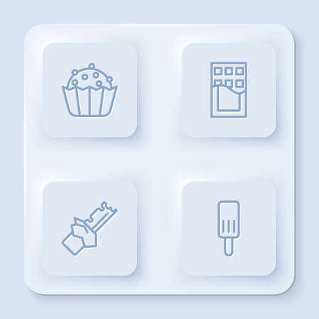 Set line Cupcake, Chocolate bar, Bitten chocolate and Ice cream. White square button. Vector