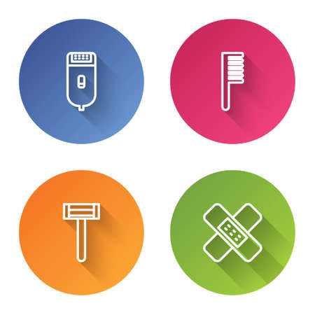 Set line Electrical hair clipper or shaver, Hairbrush, Shaving razor and Crossed bandage plaster. Color circle button. Vector