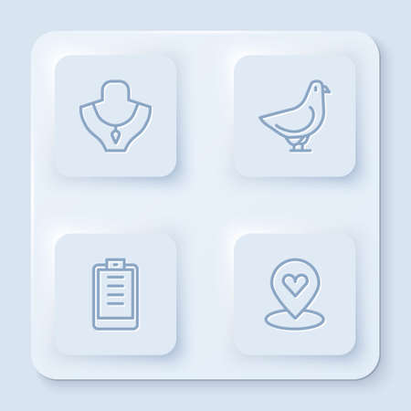 Set line Necklace on mannequin, Dove, Clipboard with checklist and Location heart. White square button. Vector