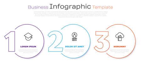 Set line Graduation cap on globe, Create account screen and Cloud or online library. Business infographic template. Vector Vektoros illusztráció