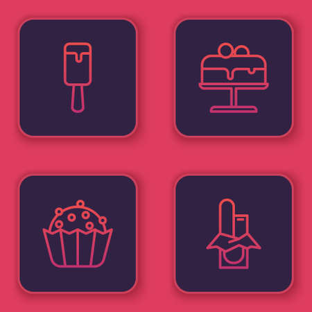 Set line Ice cream, Cupcake, Cake on plate and Chocolate bar. Blue square button. Vector