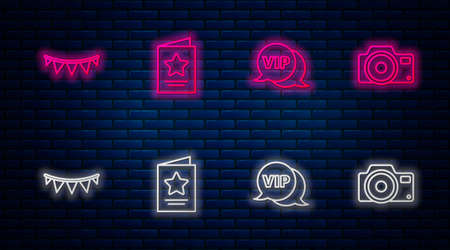 Set line Greeting card, Vip speech bubble, Carnival garland with flags and Photo camera. Glowing neon icon on brick wall. Vector