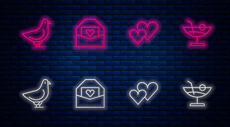Set line Envelope with Valentine heart, Heart, Dove and Cocktail. Glowing neon icon on brick wall. Vector Vettoriali