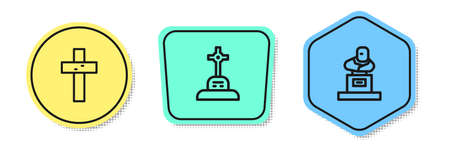 Set line Christian cross, Grave with and tombstone. Colored shapes. Vector