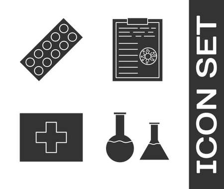 Set Test tube and flask, Pills in blister pack, First aid kit and Clipboard with blood test results icon. Vector