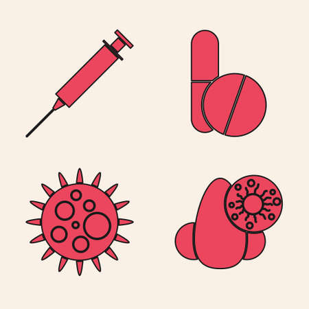 Set Runny nose and virus, Syringe, Medicine pill or tablet and Virus icon. Vector Illustration